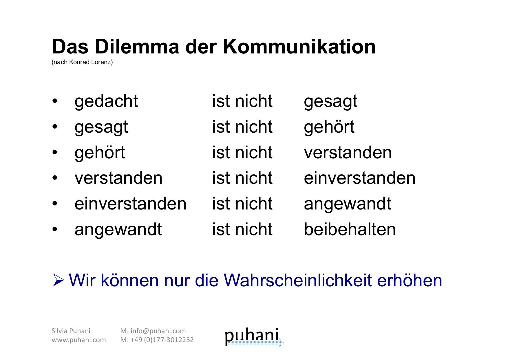 Das Dilemma Der Kommunikation Nach Konrad Lorenz Puhani